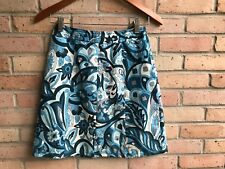 Ann Taylor Blue & White Geometric Silk Blend A-Line Skirt - sz 00P EUC FAST SHIP