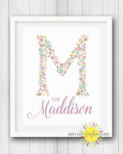 """Girl Nursery Room Print Wall Art Decor 8""""x10"""" Personalised Name Floral Letter"""