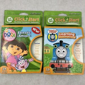 LeapFrog Click Start Game Lot (2) Dora the Explorer Thomas Train 2007 New in Box