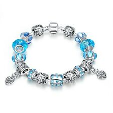 925 Silver Charm European Charms Sky Blue heart-shaped bracelet DIY ZX02