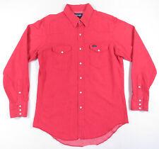 90S Wrangler Rojo Claro Perla a Presión Manga Larga Vaquero Corte Normal Camisa