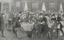 1872 Large Antique Print - York Rail Station Buffet - London/ Edinburgh Express