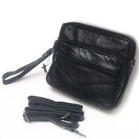 New Mens Black Leather Belt Loops Waist Mini Messenger Shoulder Bag Handbag 9802