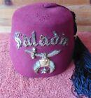 Vintage Shriner's Masonic Hat Fez Rhinestone Pin Scimitar Sword SALADIN Ihling