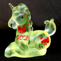 "Boyd Glass Hand Painted Vaseline Satin "" Little Lucky "" Unicorn LTD # 112 Of 200"