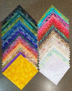 "40x Batik Fabric Quilting Craft Sewing Layer Cakes 10""x10"" Squares Rainbow"
