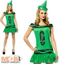 Crayola Emerald Green Ladies UK 8-12 Fancy Dress Crayon Book Day Adults Costume
