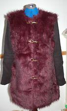 ❄️NEW 12-14 BooHoo Dark Maroon Mulberry Purple&Black Faux Fur Coat Black Sleeves