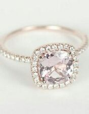 5ct Pale Pink Cushion Solitaire Engagement Ring Halo 925 Solid SS Rose Gold Plat