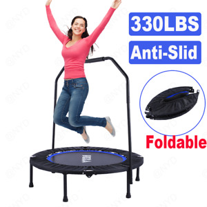 36~40''  NEW Mini Foldable Trampoline With Bar Urban Rebounder Bouncing Exercise