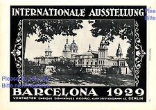 Internationale Ausstellung Barcelona XL Reklame 1928 Spanien Werbung +