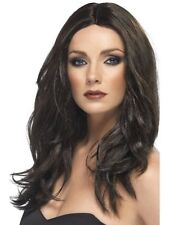 Women's Long Brown Wavy Superstar Wig Fancy Dress Party Costume Accessory Model