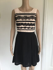 REVIEW  ladies  cocktail dress. Sz  8.  black  / blush. Fully Lined