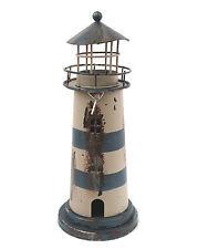 Deko Leuchtturm Teelichthalter Blech Metall 23cm blau-weiss