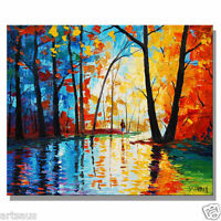ABSTRACT OIL PAINTING PALETTE KNIFE TREES On Canvas Modern Wall Art By G Gercken
