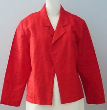CHICO'S Size 2 Red 100% Silk Embroidered Unlined Blazer