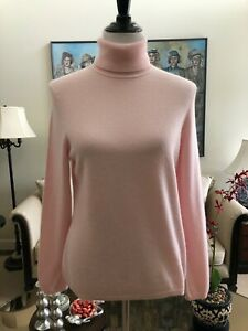 NWOT Charter Club 100% 2-Ply Cashmere Pink Turtleneck Sweater Size L