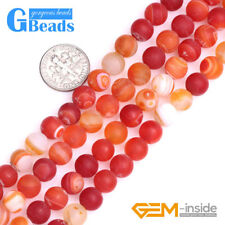 """Assorted Colors Stripe Onyx Agate Frost Matte Round Beads Free Shipping 15"""""""