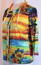 Onque Petite Size S Knit Hawaiian Print Jacket Multi-Color Long Sleeve Zip