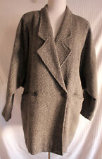 Vintage Gray 100% Virgin Wool Diagonal Stripe Dolman Coat Made in France sz L