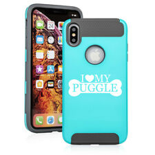 For Apple iPhone X Xs Max Xr Shockproof Hard Soft Case Cover I Love My Puggle