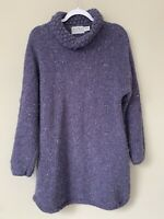 Rathlin Pure New Wool Hand Loomed In Ireland Sweater Size XL Purple