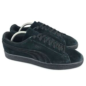 Puma Mens Triple Black Suede Classic Badge Low Top Lace Up Sneaker Shoes Size 10