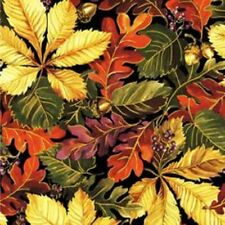 FABRI-QUILT BOUNTIFUL HARVEST LEAVES METALLIC COTTON FABRIC BTY
