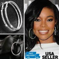 2.75 Inch Luxury Silver Rhinestone Crystal Small Medium Hoop Earrings Swarovski