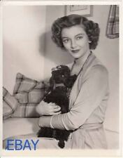 Myrna Loy w/pet dog, Mike,  VINTAGE 7x9 Photo candid at home circa 1948
