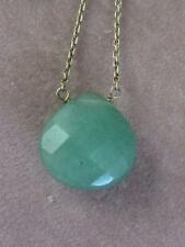 STERLING SILVER CHAIN & 15MM FACETED CHECKERBOARD CHRYSOPRASE PENDANT NECKLACE