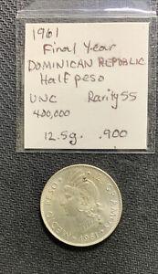 Dominican Republic 1961 1/2 Peso Unc / 12.5 Gr .900 Silver & *No Reserve!
