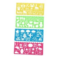 4 Pcs Plastic Templates Drawing Ruler for Students Children H8L1