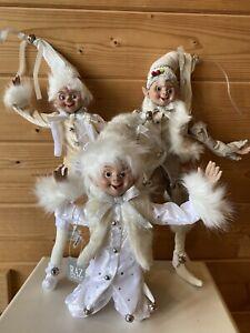 "RAZ Imports 19"" Posable Elves Elf Set/3 White Fur Christmas Slightly Flawed #16"