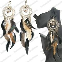 """CLIP ON 10""""long GIANT EARRINGS wild BIRD FEATHER natural ANTIQUE GOLD feathers"""