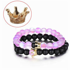 Distance Couple Bracelets with Crown Her King His Queen Beads Bracelet Gift