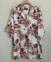 Hawaiian Reserve Collection Shirt Short Sleeve White/Red Palm Trees Buttons 2XL