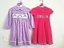 2 GIRLS 6X ANAVINI & MARMELLATA SMOCKED & EMBROIDERED DRESS'S & HAIR BOW SETS!