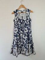 Jenny May Cotton Fit & Flare Ruffle Ruched Blue & White Dress Women's Size 10