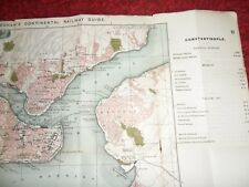 Constantinople antique map Bradshaws continental railway guide 1907