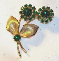 Vintage Large Designer Style Emerald Green Rhinestone Flower Brooch Pin L311
