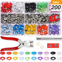 AU 200Set Prong Pliers Ring Press Studs Snap Popper Fasteners 9.5mm DIY Tool Kit