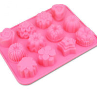 12 Molds Flower Silicone Ice Cube Cake Cookie Soap Chocolate Mould Tool Hot
