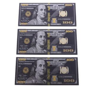 Feuille d'or noir antique 100 USD billets de banque en dollars commémoratifsMFU