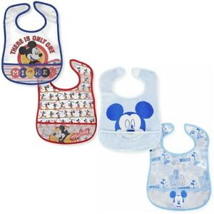 "4 Disney Mickey Baby Crumb Catcher Bib Clear Plastic Blue & Red 8.5""x 9.5"""
