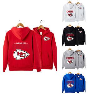 Kansas City Chiefs Football Hoodie Unisex Zipper Hooded Sweatshirt Casual Jacket