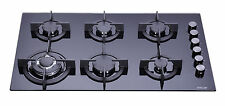 MILLAR GH9061PB 6 Burner Built-in Gas on Glass Hob 90cm - Cast Iron Stands & Wok