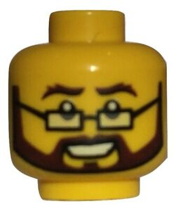 Lego minifigure head - brown beard and glasses