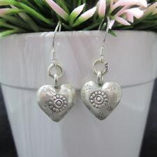 Hill Tribe Fine Sterling Silver Earrings Ethnic Dangle Love & Hearts Jewelry