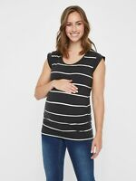 NEW Mamalicious Maternity Top Short Sleeve Stripe Charcoal £20 RRP QUALITY UK